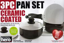 Your Kitchen Hero 3pc Non Stick Ceramic Saucepan Aluminium Pan Set with Lid Lids