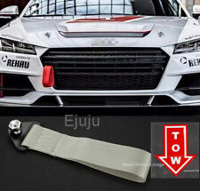 Silver Bumper Crash Beam Tow Hook Strap w/ Red Tow Arrow Sticker For Honda Acura