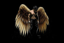 Framed Print - Gothic Dark Angel with Wings Spread (Picture Poster Goth Art)
