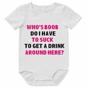 Who's Boob Suck Funny Bodysuit Baby Romper Cute Mum Dad Aunty Uncle Clothing
