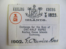 Keeling Cocos Islands1/2 Rupee Banknote P.S125 aUnc (1902)