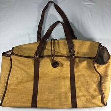 Eddie Bauer Large Wheat Woven Leather Gym Duffel Bag