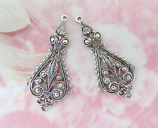 Antique Silver (2 Pieces) Small Boho Earring Drops Filigree Stamping (E-784)