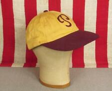 Vintage 1950s Baseball Cap 'P' Chain Stitch Letter Gold/Burgundy Fitted Hat Sz.7