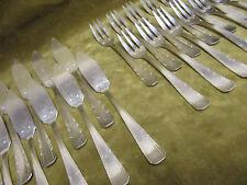 """12 couverts poisson métal argenté art deco """"boreal"""" FRIONNET fish forks, knives"""