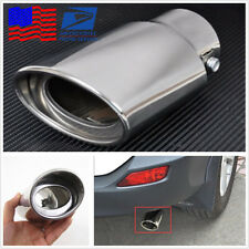 Chrome Silver Car SUV Straight Exhaust Tail Throat Pipe Tip Muffler Pipe From US