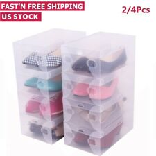 Clear Plastic Women Shoes Boot Box Stackable Foldable Home Storage Organizer US