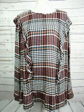 Next Ruffle Front Tartan Check Long Sleeve Loose Fit Top Size 20