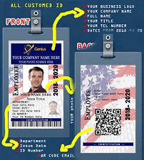 CUSTOM PVC ID Card w/ Clip USA CUSTOM EMPLOYEE ID CARD. FROM ANY EMPLOYER -