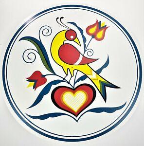 "15"" Wall Plaque Folk Pop Art Americana Boho Bird Floral Heart Retro Hex Sign"