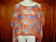 Orange & Blue Striped Top - size L - Sheer Polyester- Butterfly Sleeves