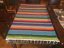 "Satillo or Serape Style Acrylic Mexican Blanket 2.3 lbs Large 48"" by 79"" T. Blue"