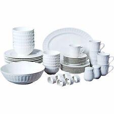 Set Dinnerware 46 Pcs Dishes Plate Mug Classic Vintage Modern White Service New