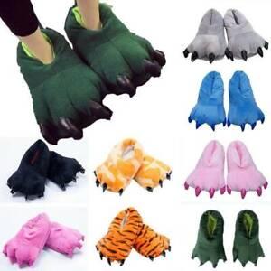 Womens Mens Kids Animal Monster Dinosaur Feet Paws Slippers Winter House Shoes