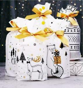 10x Christmas Sacks Reusable Drawstring Wrap Present Gift Party Bags Storage
