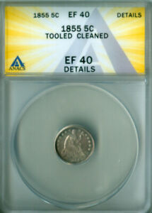 1855 SEATED LIBERTY HALF DIME ARROWS ANACS EF-40 DETAILS FREE S/H (2126364)