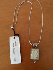 Vintage Sue Huston Sterling silver 925 carved Chinese Cinnabar necklace w/ tags