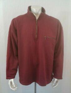 Eddie Bauer Burgundy Long Sleeve 1/2 Zip Mock Neck Men's Cotton Sweatshirt Sz L