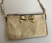 Burberry Prorsum Women's Heritage Metallic Gold Bow Clutch Handbag Purse