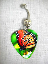 NEW COLORFUL MONARCH BUTTERFLY PHOTO GUITAR PICK CLEAR CZ BELLY RING BUTTERFLIES