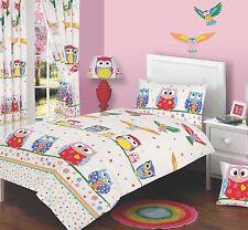SINGLE BED DUVET COVER SET OWL LOVE / FLOWERS / DOTS / SPOTS / BLUE / PINK /KIDS