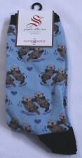 "Socksmith Women's ""Significant Otter"" Crew Socks TM8 Blue Size 9-11 NWT"