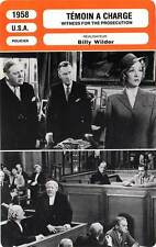 FICHE CINEMA : TEMOIN A CHARGE - Power,Dietrich 1958 Witness for the Prosecution