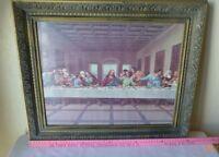 Vintage The Last Supper Framed Art Print Plastic Ornate Frame