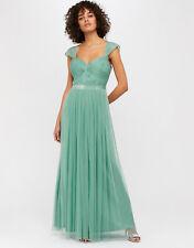 New MONSOON Jennifer Green Mesh Maxi Dress Ball Gown Size 12 £120 Prom Wedding
