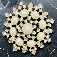 """MONET Large 2-1/2"""" Gold Tone Rhinestone Faux Pearl Brooch / Pin NEW in Gift Box"""