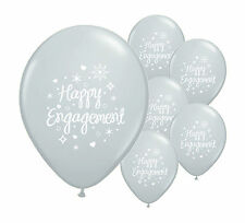 "10 x HAPPY ENGAGEMENT  SILVER 12"" HELIUM QUALITY PEARLISED BALLOONS (PA)"