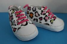 Baby Gear Infant Girl WHITE w/Multicolor design SNEAKERS Crib Shoes~Size 3-6 Mo