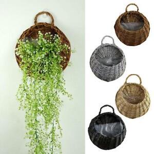 Wall Fence Hanging Planter Plant Flower Pot Handmade Basket Garden Rattan BEST