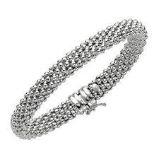 "925 sterling silver ITALIAN popcorn mesh domed bangle bracelet 14 gr 8mm 7.25"""