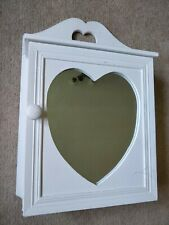 WHITE WOOD BATHROOM CABINET. COTTAGE RUSTIC STYLE. HEART MIRROR