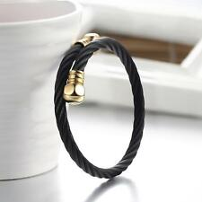 Mens Womens Stainless Steel Black Twisted Cable Wire Cuff Bangle Bracelet #B131