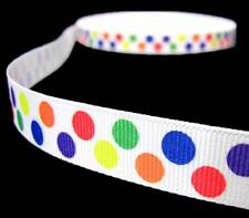"5 Yd Primary Colorful Double Polka Dot Polkadot Grosgrain Ribbon 5/8""W"