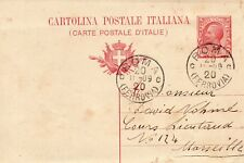 ITALY 1909 10ct USED PREPAID POSTCARD SENT FROM ROME TO MARSEILLE 11 SEPT 1909