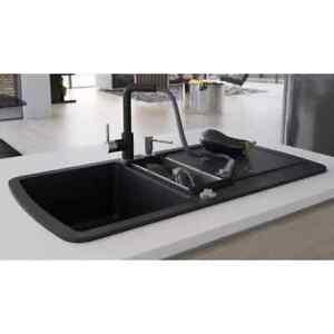 vidaXL Granite Kitchen Sink Double Basin Black Overmount with Basket Strainer