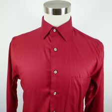 NEW Pronto Uomo Mens Cotton LS Button Down Solid Red Dress Shirt 15.5 32/33
