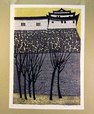 Vtg TAMAMI SHIMA Japanese Color Wood Block CASTLE Fort PRINT ART Old FINE JAPAN