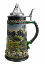 Tyrol Austrian Alps Beer Stein with Lid