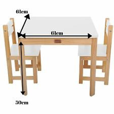 Wooden Children's Kids Toddler Art Craft Table & 2 Chairs Set SQUARE WHITE