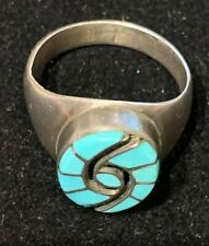 Mens Sterling Turquoise  Inlay Ring Amy Quandelacy Size 10