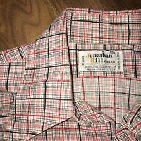 Vtg 50s 60s JOHNATHAN HILL Dress Shirt Plaid Print Mid Century Disco MENS MEDIUM