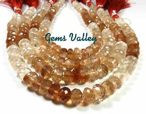 """TOP AMAZING NATURAL BROWN TOPAZ FACETED RONDELLE SHAPE BEADS 8"""" STRAND GV-890"""
