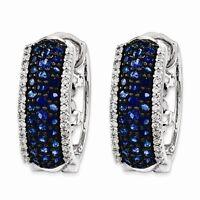 14K WHITE GOLD GENUINE NATURAL 1/4 CT DIAMOND & 1 CT BLUE SAPPHIRE HOOP EARRINGS