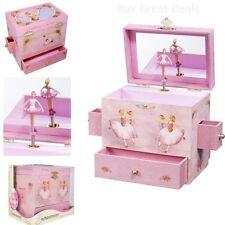 Vintage Ballerina Music Box Gift Jewelry Storage Play Pink Figurine Swan Lake