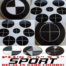 GLOSS BLACK Sticker Overlay +SPORT vinyl FULL SET black out Fit All BMW Emblems