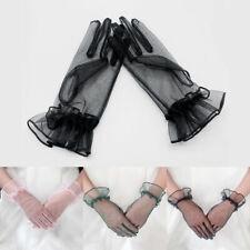 1 Pair White Bridal Wedding Short Gloves Full Fingered Trim Wrist Length Mittens